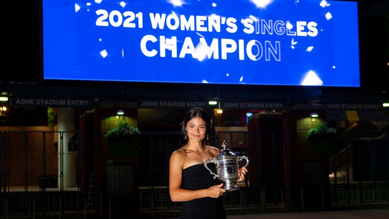 Emma Raducanu poses with her trophy following a sensational win at the US Open. Pic: AP