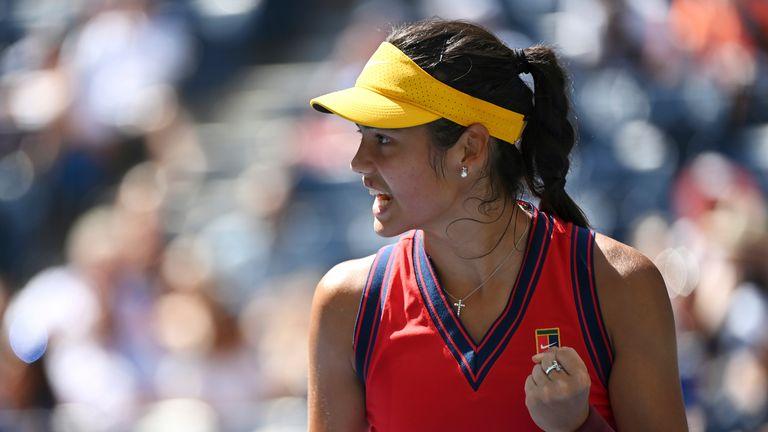 Emma Raducanu during her quarterfinal singles match against Belinda Bencic at the US Open. Pic: Ap