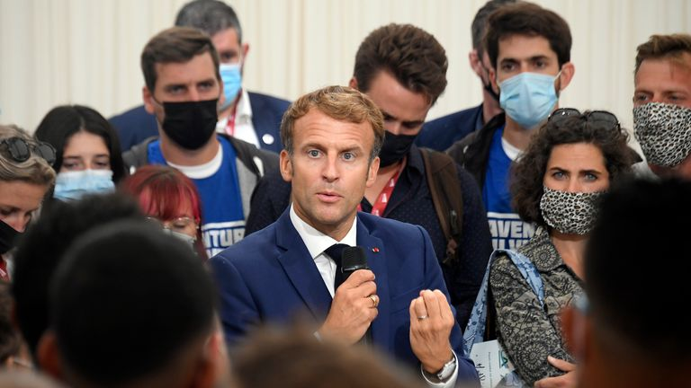 French President Emmanuel Macron speaks during the seventh annual meeting of the Jeunes Agriculteurs (Young Farmers) union in Corbières-en-Provence, southeastern France, on September 10, 2021. (Nicolas Tucat, Pool Photo via AP)