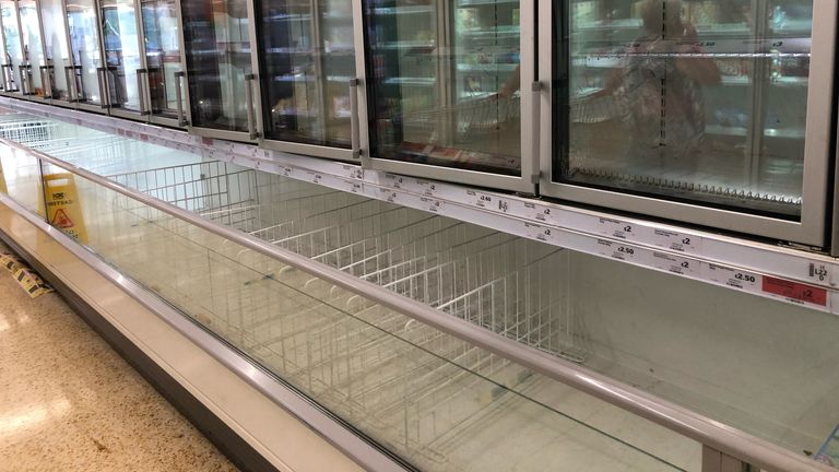 An empty freezer section at a Sainsbury's supermarket in Durham