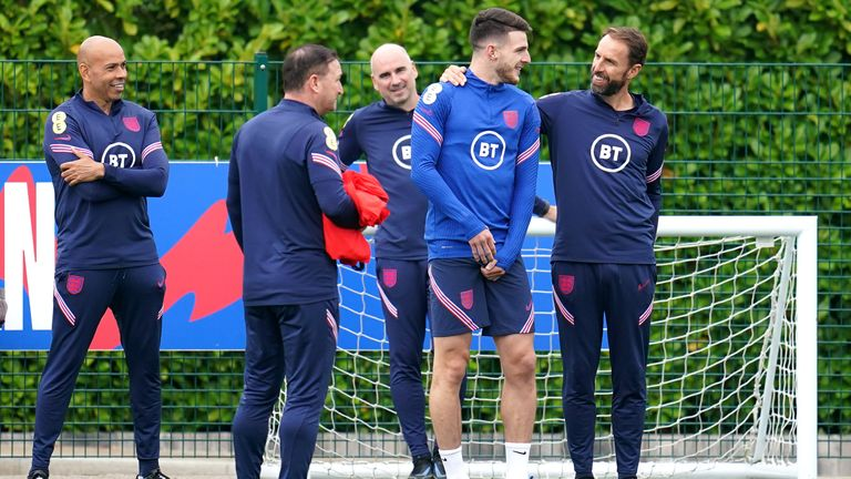 Southgate photographed with Declan Rice during training in London on Saturday