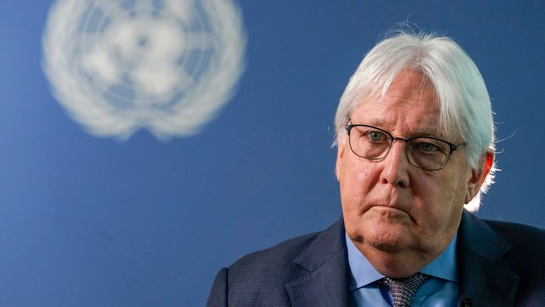 """Martin Griffiths, the United Nations humanitarian chief, called the crisis """"a stain on our conscience"""""""