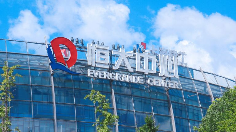 A view of the logo of the Evergrande Group at Evergrande Center in Shanghai, China Wednesday, Jul. 21, 2021.