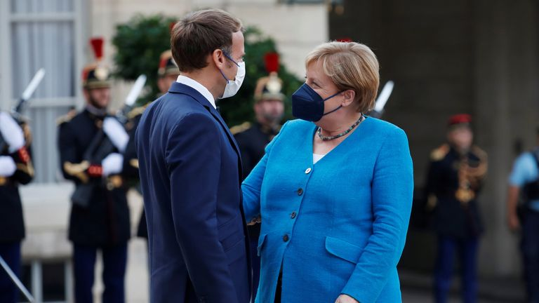 French President Macron meets German Chancellor Merkel in Paris
