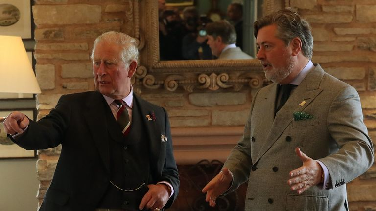 The Prince of Wales, known as the Duke of Rothesay while in Scotland, tours the Granary Accommodation, with Lord Thurso (left) and Michael Fawcett (right), in 2019