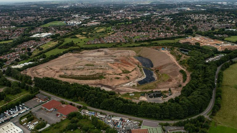 Stop The Stink, Walley's Quarry Landfill Silverdale Newcastle Stoke on Trent Aerial Birds Eye View ideal images for News Reports