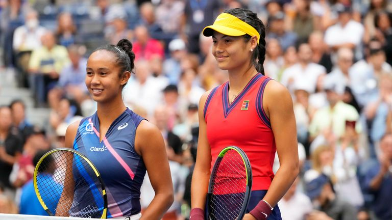 Leylah Fernandez of Canada (L)and Emma Raducanu of Great Britain (R) pose at the net prior to their match in the women's singles final on day thirteen of the 2021 U.S. Open. Pic: Robert Deutsch-USA TODAY Sports