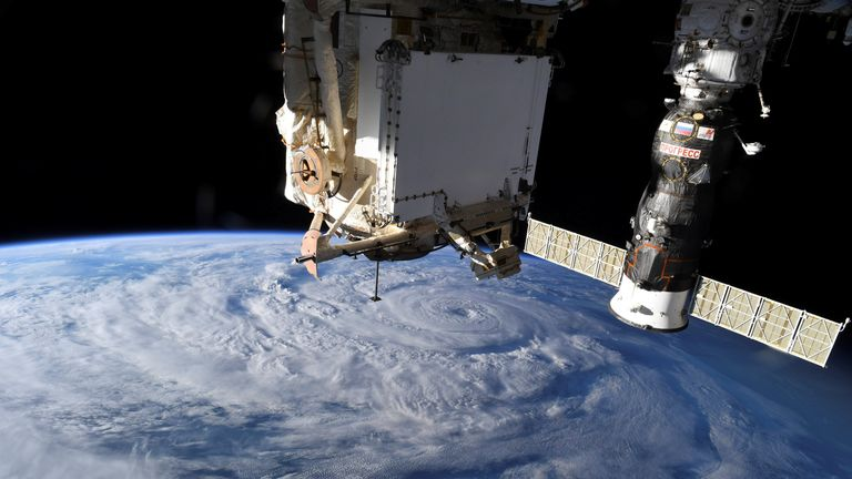 FILE IMAGE -Hurricane Genevieve is seen from the International Space Station (ISS) orbiting Earth in an image taken by NASA astronaut Christopher J. Cassidy August 19, 2020.   PICNASA/Christopher J. Cassidy/REUTERS