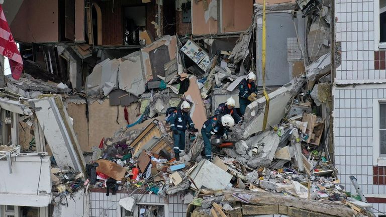 A scene of a gas explosion in a nine-storey residential building in the town of Noginsk, Moscow region, Russia September 8, 2021