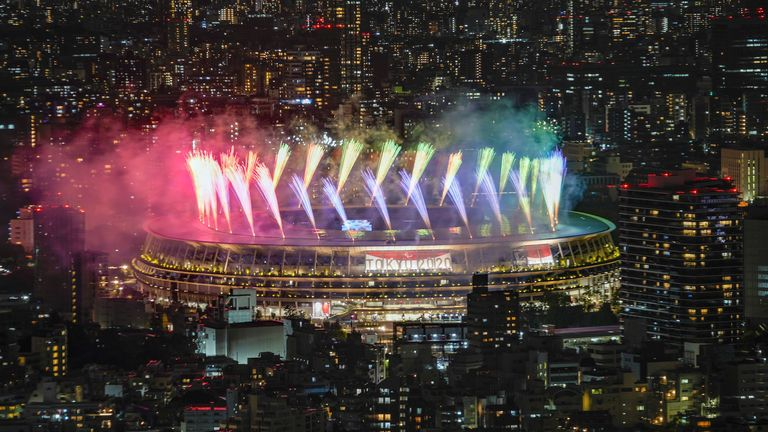 Fireworks illuminate over National Stadium viewed from Shibuya Sky observation deck during the closing ceremony for the 2020 Paralympics in Tokyo, Sunday, Sept. 5, 2021. (AP Photo/Kiichiro Sato)