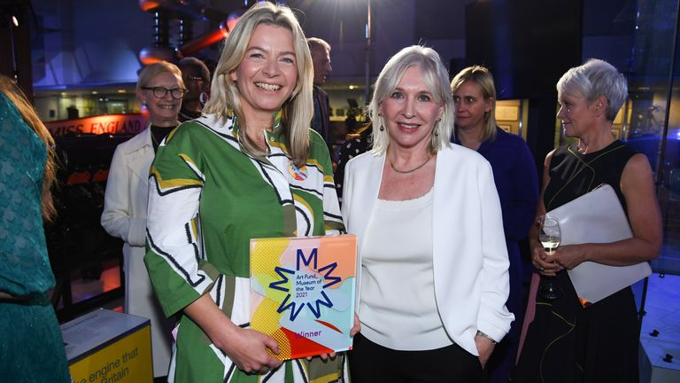 Sally Shaw (left), director of Firstsite, winner of Art Fund Museum of the Year 2021, with Nadine Dorries, Culture Secretary, at the award ceremony at the Science Museum in London