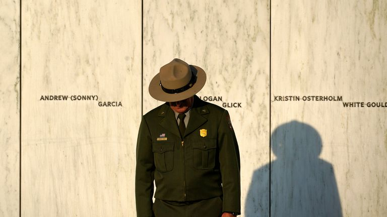 A National Park Service ranger at the Flight 93 National Memorial in Shanksville. Pic: AP