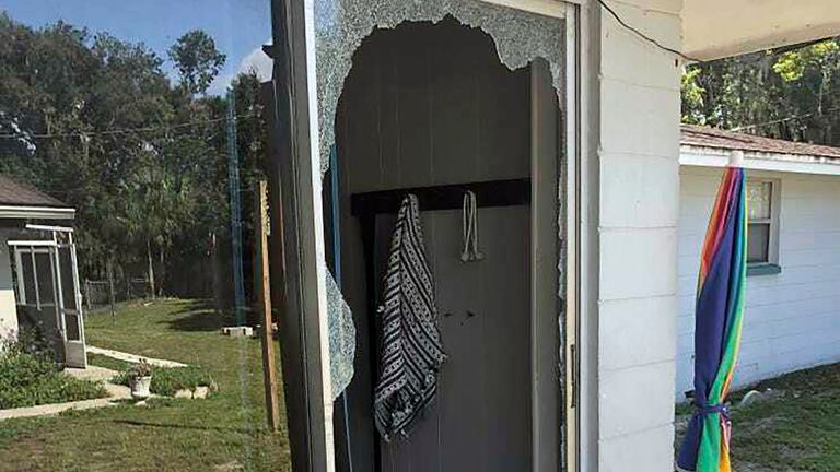 The scene of a gunfight between a suspect and police in Lakeland, Florida. Pic: Polk County Sheriff's Office via AP