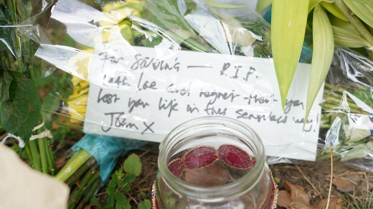 Floral tributes at Cator Park in Kidbrooke, south London, near to the scene where the body of Sabina Nessa was found.