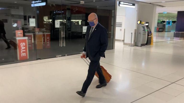 French Ambassador to Australia Jean-Pierre Thebault at Sydney Airport