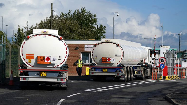 Fuel tankers at the Petroineos Grangemouth Refinery (file pic)