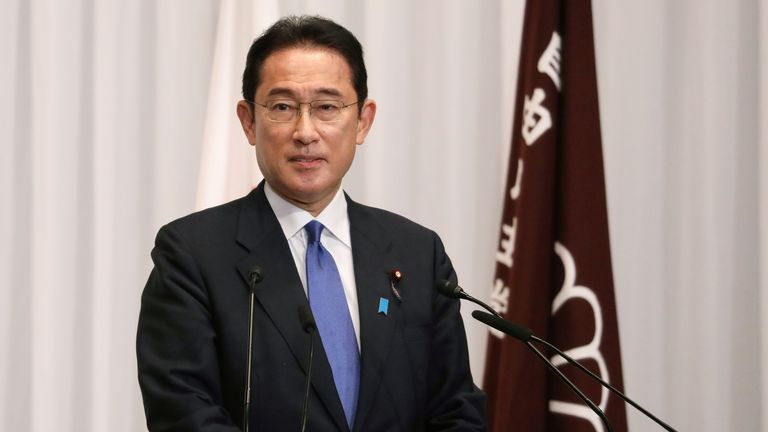 Fumio Kishida attends his first news conference after he was elected as LDP president