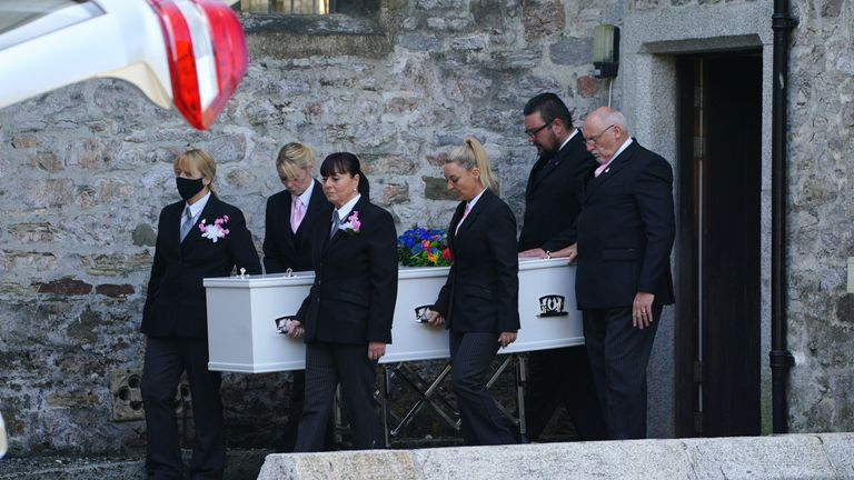 The cortege leaves the Church of St Andrews, Plymouth, following the funeral of three-year-old Sophie Martyn and her father Lee Martyn, 43, victims of the Plymouth shootings. Picture date: Monday September 6, 2021.