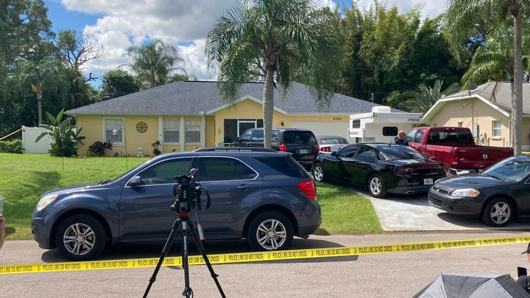 Police tape blocks off the home of Brian Laundrie's parents in North Port, Florida. Pic: AP