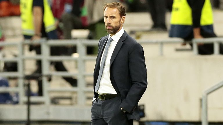 Southgate is seen on the sideline at the England v Hungary match in Budapest