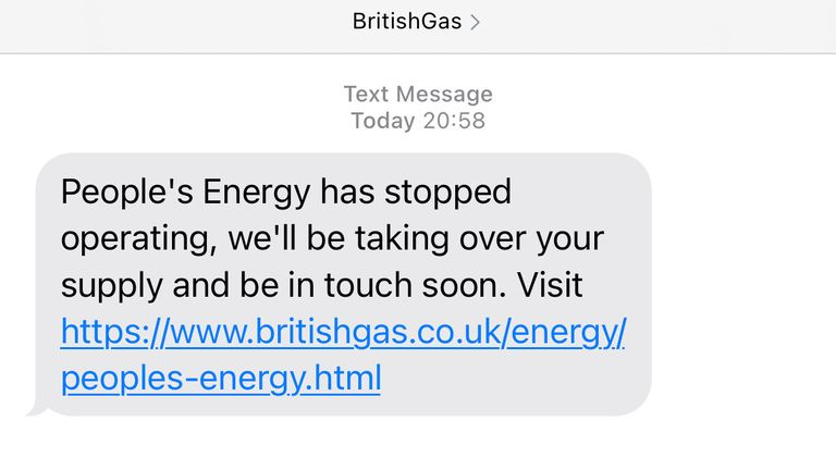 British Gas has stepped in to operate People's Energy's supply after the company folded last week.