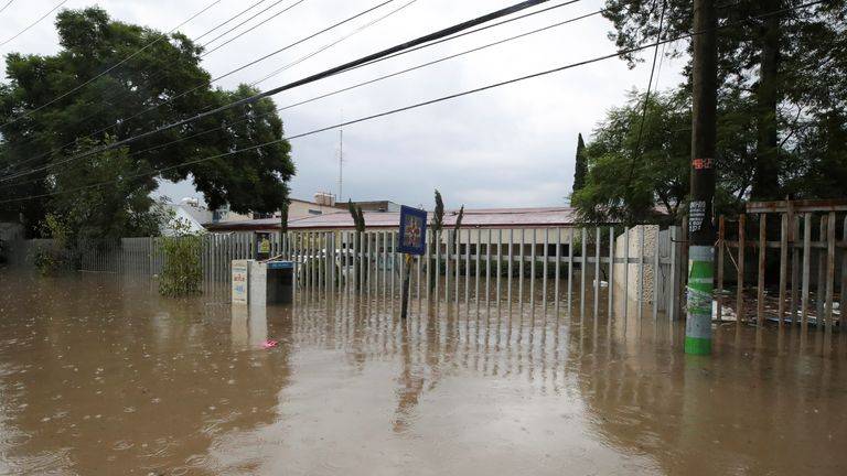 A flooded hospital is seen after heavy rainfall during Monday's night that left people dead, injured and damaged cars and infrastructure, in Tula de Allend