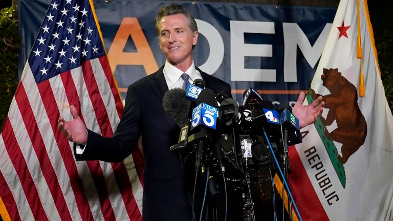 California Governor Gavin Newsom holds a news conference after winning his recall vote. Pic: AP