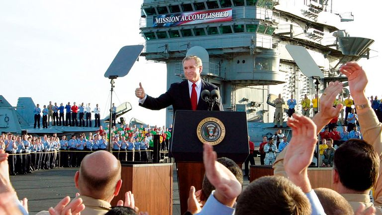 George W Bush in 2003 at the end of major operations in Iraq