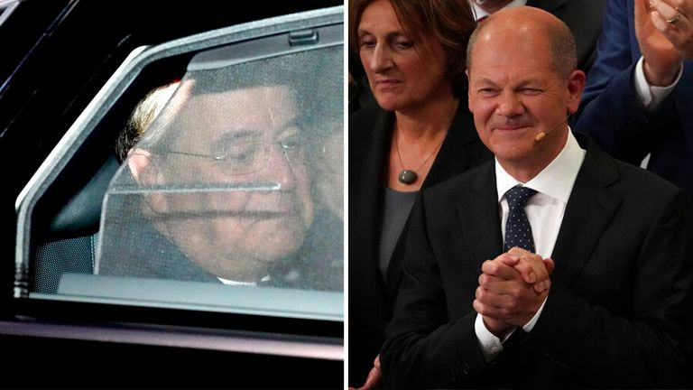 The CDU's Armin Laschet looks glum leaving party headquarters as SPD rival, Olaf Scholz, appears jubilant while addressing supporters in Berlin Pic: AP