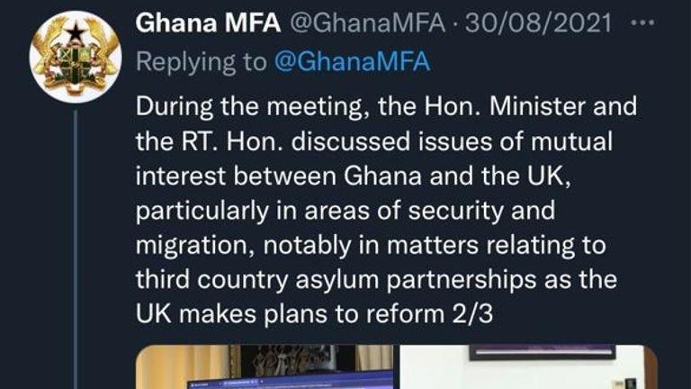Le tweet montre une image d'une réunion virtuelle entre le ministre britannique de l'Afrique James Duddridge et la ministre ghanéenne des Affaires étrangères Shirley Ayorkor Botchwey