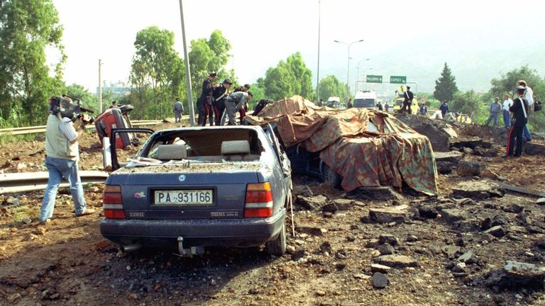 Judge Giovanni Falcone was killed in a bomb blast in May 1992. Pic: AP