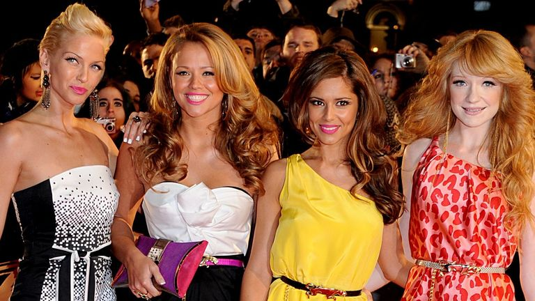 Sarah Harding, Kimberley Walsh, Cheryl Cole and Nicola Roberts of Girls Aloud arrives for the BRIT Awards 2008, at Earls Court in central London.