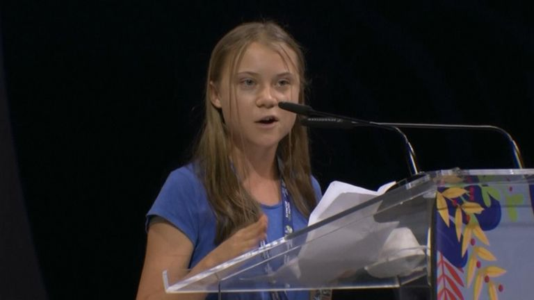 Greta Thunberg at the Youth4Climate conference