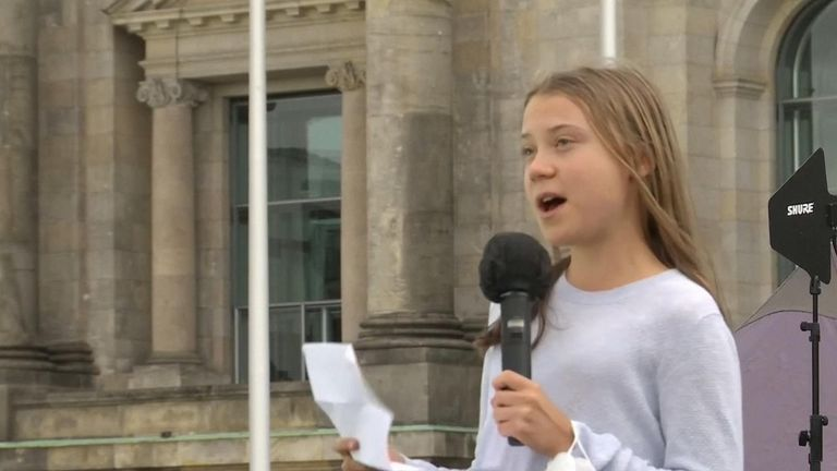 Greta Thunberg tells Berlin crowd that voting alone is not enough to demand climate action