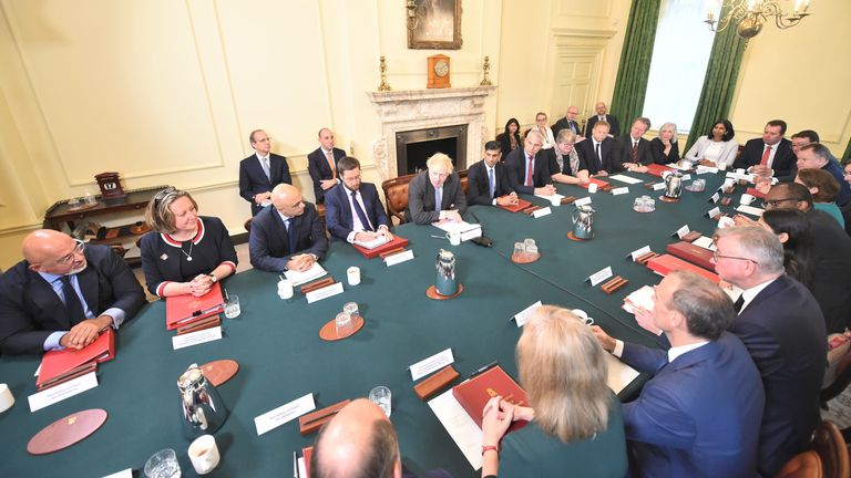 the first Cabinet meeting since the reshuffle at 10 Downing Street, London. Picture date: Friday September 17, 2021.