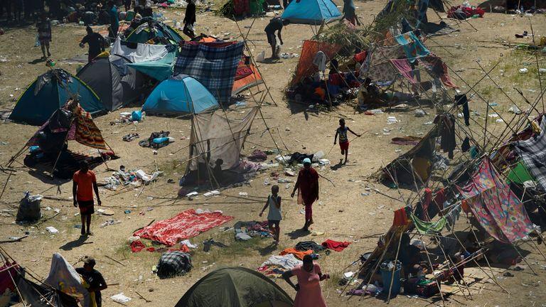 Haitian migrants in a makeshift camp near Del Rio in Texas. Pic: AP