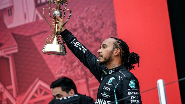 Lewis Hamilton won his 100th Formula One race. Pic: AP