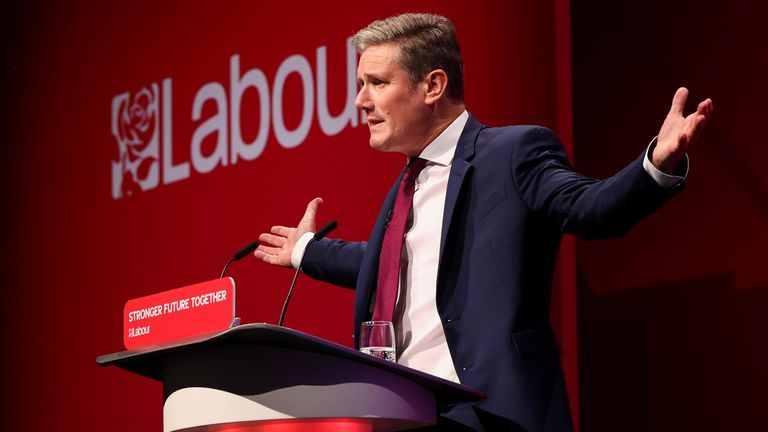 Britain's Labour Party leader Keir Starmer gestures as he speaks at Britain's Labour Party annual conference in Brighton, Britain, September 29, 2021. REUTERS/Henry Nicholls
