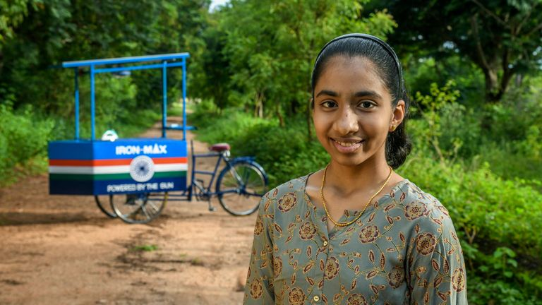 """Handout photo of Vinisha Umashankar with the solar-powered ironing cart she designed. The Duke of Cambridge has said the """"amazing"""" entries in his Earthshot Prize competition should fill the world with """"optimism and hope"""" as he announced the finalists. Issue date: Friday September 17, 2021. PA Photo. William launched the ambitious environmental prize to make a """"positive personal"""" contribution in the fight against"""