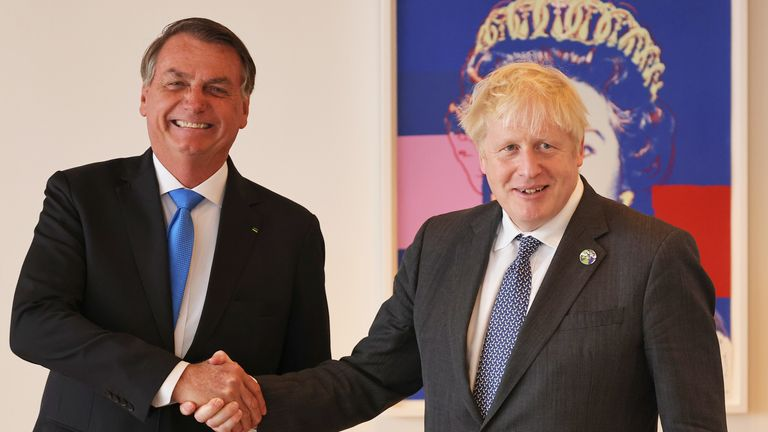 Prime Minister Boris Johnson (right) shakes hands with Brazil's president Jair Bolsonaro ahead of a bilateral meeting at the UK diplomatic residence in New York. Picture date: Monday September 20, 2021.