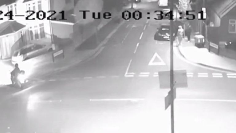 The suspect stopped his moped and turned off its lights