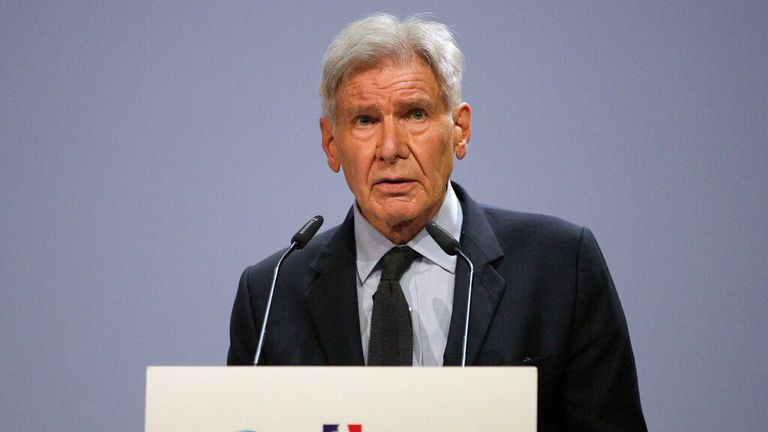 Harrison Ford addressed the IUCN World Conservation Congress in Marseille. Pic: AP