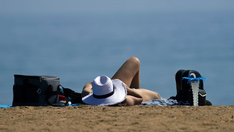 Autumn weather Sep 6th 2021 People enjoy the warm weather on Bournemouth Beach in Dorset. Picture date: Monday September 6, 2021.