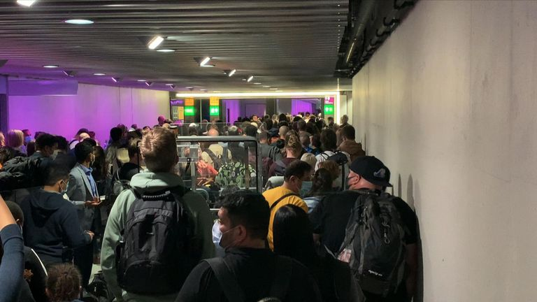 Queues at Heathrow Airport caused by immigration delays were a Covid-19 risk.