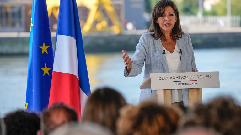Socialist mayor of Paris Anne Hidalgo gestures as she announced her candidacy for the upcoming presidential election in France next year during a meeting in Rouen, Normandy, Sunday, Sept. 12, 2021. French far right leader Marine Le Pen hands over the reins of her party to focus on her campaign for the April presidential election, and the Socialist mayor of Paris declares she is joining the 2022 race. (AP Photo/Michel Euler)