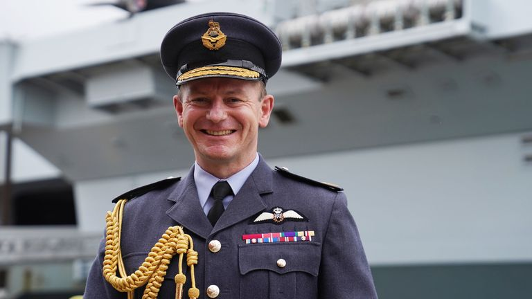 Air Chief Marshal Sir Mike Wigston, Chief of the Air Staff in front of HMS Queen Elizabeth at the the Naval Base in Portsmouth, Hampshire. Picture date: Saturday May 22, 2021.