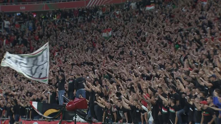Hungary fans at the Puskas Arena in Budapest