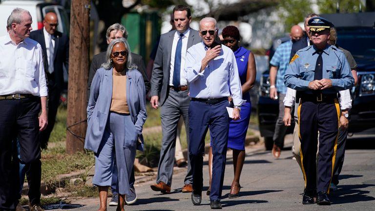 Joe Biden in New Jersey. Pic: AP