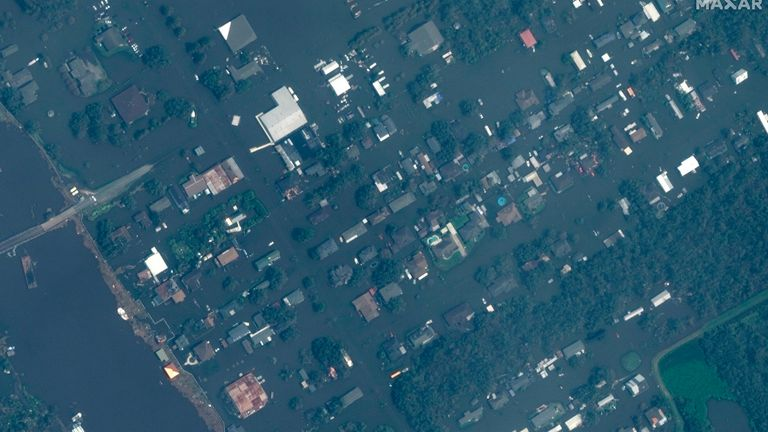 AFTER IMAGE  This combination of satellite images provided by Maxar Technologies shows homes in Jean Lafitte, La., on Nov. 22, 2020, top, and the same area on Tuesday, Aug. 31, 2021, bottom, after Hurricane Ida flooded the area.  PIC:AP/MAXAR idabeforeafter
