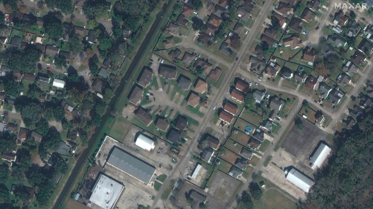 BEFORE PICTURE  This combination of satellite images provided by Maxar Technologies shows buildings and homes in LaPlace, La., on Dec. 9, 2020, top, before they were damaged by Hurricane Ida and on Tuesday, Aug. 31, 2021, bottom, following the storm.   PIC:MAXAR/AP